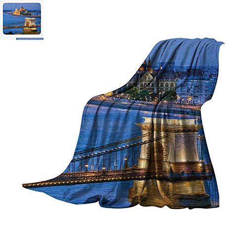 Luoiaax European Warm Microfiber All Season Blanket River of Budapest at The Evening Illuminated Bridge Hungarian Culture Heritage Summer Quilt Comforter 50