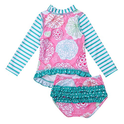 Alvivi Baby/Toddler Girls Long Sleeve Rash Guard 2-Piece Swimsuit Shirt Top with Ruffle Bloomers UPF 50+ Sun Protection Pink & Blue 18-24 Months