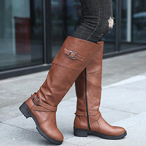 KaiCran Knight Shoes Boots Leather Boots Flat Buckle PU Martin Ladies fashion Brown Buckle Women THYwxaTqr