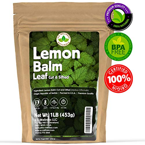 Lemon Balm Tea (Bulk Herbal Tea): Bulk Lemon Balm Leaf (Melissa Officinalis Caffeine Free) - Herbal Balm, Bulk Balm Leaf (Cut and Sifted), 1lb (16Oz) U.S. Wellness Bulk Tea (Lemon Loose Leaf Tea)