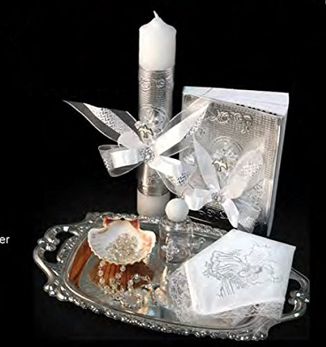 Amazon.com: English Handmade Christening/Baptism Baby Set For Girl, Boy Virgencita Virgen : Candle, Bible, Dry Cloth, Sea Shell, Rosary and Holy Water ...
