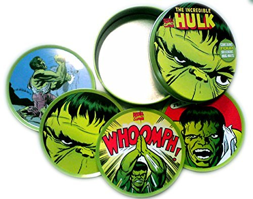 THE INCREDIBLE HULK MAEVEL - SET OF FOUR DRINK COASTERS (MUG MATS) IN CUSTOM LIMITED EDITION TIN -