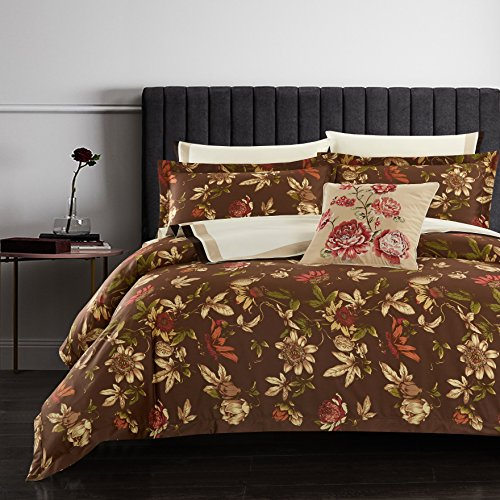 - Casabolaj Espresso Duvet Covers Set Quilt Cover Set 3 Piece Vintage Rustic Retro Coffee Brown Floral Botanic Egyptian Cotton Sateen 400 Thread Count Button Closure and Corner Ties available(King)