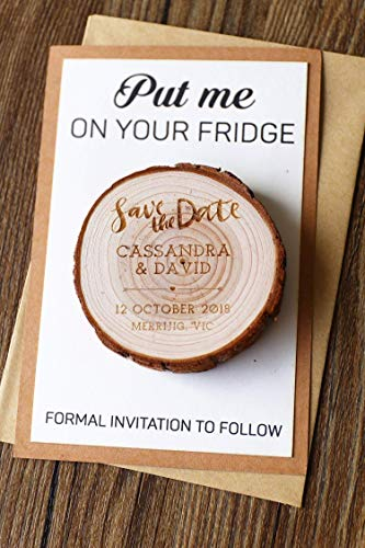 Custom wedding Wood Save the date Magnets