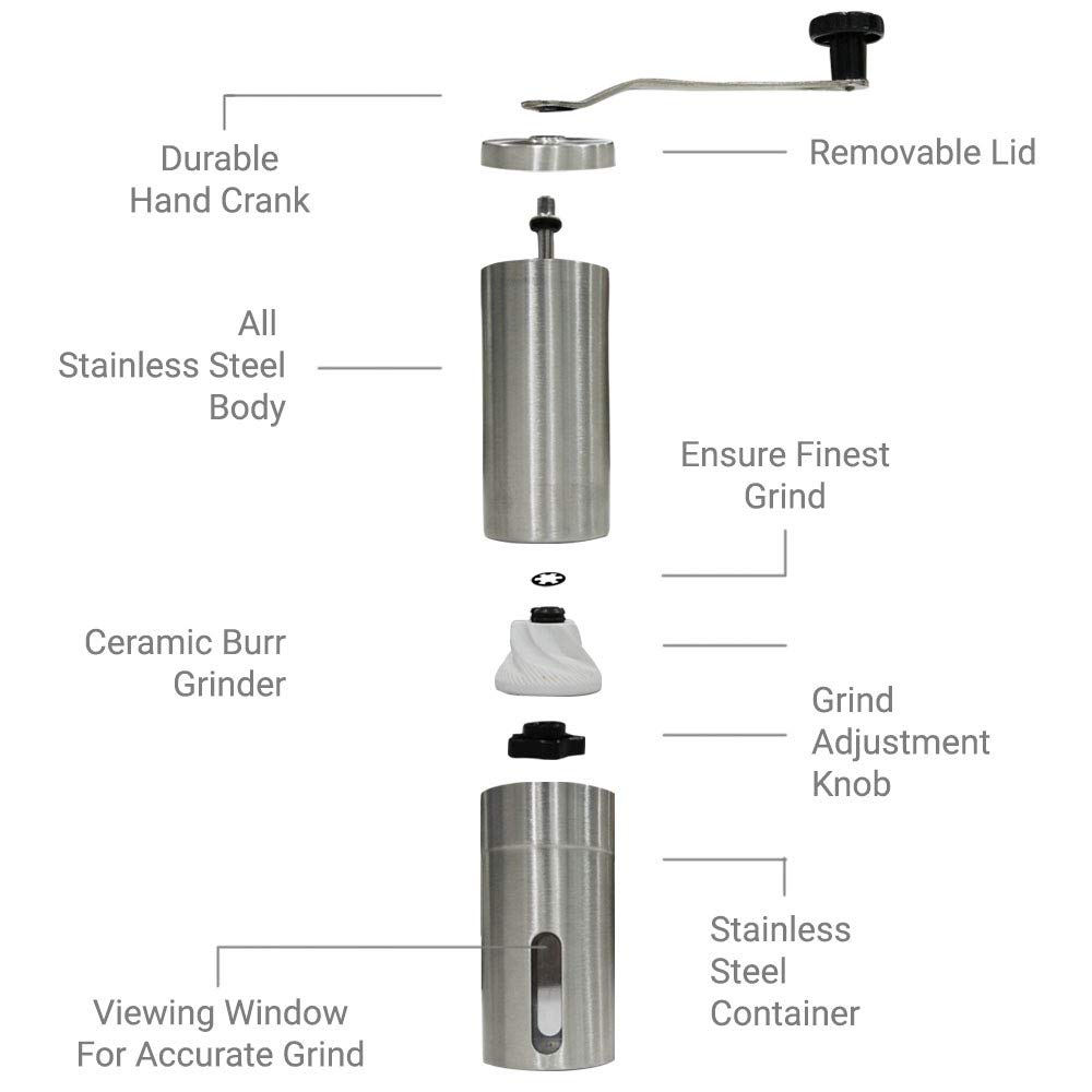BPOPRIME Manual Coffee Grinder Conical Burr Mill With Portable Durable Hand Crank by BPOPrime (Image #4)