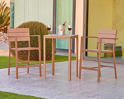 SUNCROWN Outdoor Bar Height Bistro (3-Piece Set) All Weather Steel Powder Coated Frame with Neutral Beige Water-Resistant Cushions Coffee Table | Patio, Backyard, Pool For Sale