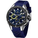 Megir Men's Chronograph Quartz Watches Men's Analogue Military Luminous Blue Dial Wrist Quartz Watch with Stylish Sport & Business Work Strap