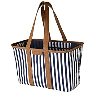 CleverMade 30L SnapBasket LUXE - Reusable Collapsible Durable Grocery Shopping Bag - Heavy Duty Large Structured Tote, Navy Striped
