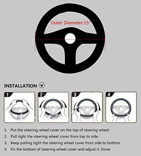 Black Valleycomfy Microfiber Leather Steering Wheel Cover Universal 15 inch