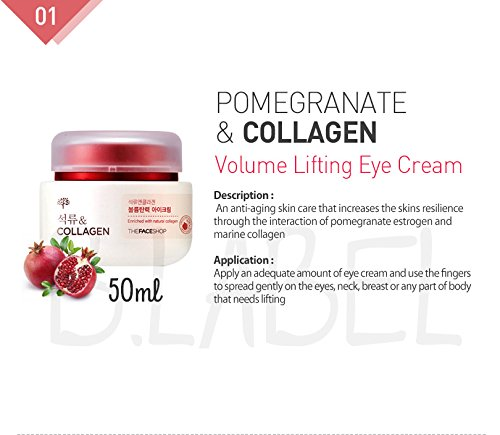 The Face Shop - Pomegranate & Collagen Volume Lifting Eye Cream for men and woman - Anti Aging Cream with marine collagen - Facial Care - Daycream