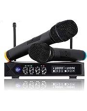 Karaoke Draadloze Microfoonsysteem Bluetooth 4.1 Mic, S9 UHF Draadloze Microfoon Dual Channel Handheld Microfoons Professioneel met LCD Display voor Familiefeest, Kerk, Metting, Zingen