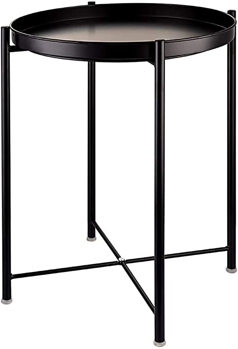 Amazon Com Black Metal End Side Table Sofa Table Small Round Side Table Anti Rust Waterproof Outdoor Indoor Snack Table Round Metal Nightstand With Removable Tray For Living Room Bedroom Balcony And Office Kitchen