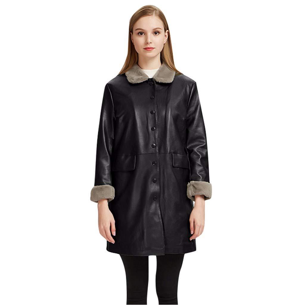 Redacel Women's Leather Jacket Autumn Winter Medium Thicken Casual Leather Coat (XXL,Black) by Redacel