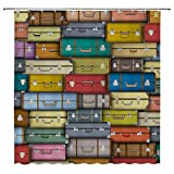 SATVSHOP Mildew-Resistant-Anti-Bacterial-Shower-Curtain-with-12-Hooks-Modern-Colorful-Suitcas-Background-Vintage-Travel-Voyage-Holiday-Themed-Artful-Dign-.W72-x-L90-inch