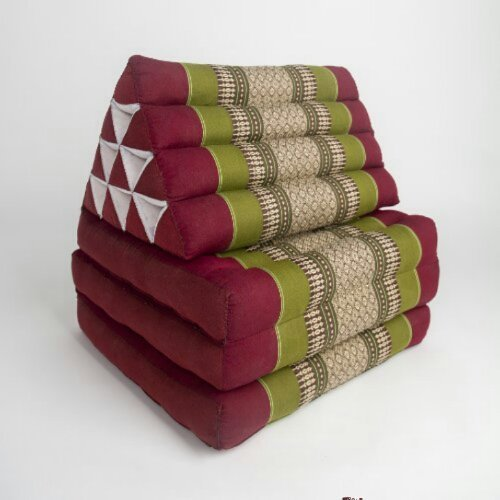 Thai Handmade Foldout Triangle Thai Cushion, 67x21x3 inches, Kapok Fabric,Green Red, Premium Double Stitched by WADSUWAN SHOP