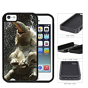 Cute Baby Elephant Water Shower 2-Piece Dual Layer High Impact Rubber Silicone Cell Phone Case Apple iPhone 5 5s