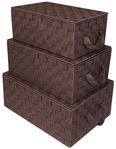 Sorbus Storage Box Woven Basket Bin Container Tote Cube Organizer Set Stackable Storage Basket Woven Strap Shelf Organizer Built-in Carry Handles (Woven Lid Baskets - Chocolate) ()