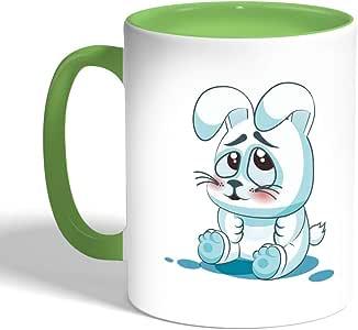 كوب سيراميك للقهوة، لون اخضر، بتصميم الشعور بالخجل - ارنب