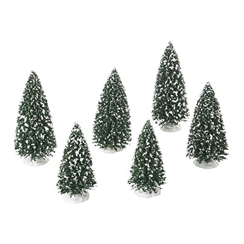 Department 56 Accessories for Villages Frosted Pine Grove Tree Accessory Figurine, 6 inch (Set of 6)