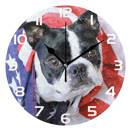 Boston Terrier Clock Acrylic Painted Silent Non-Ticking Round Wall Clock Home Art Bedroom Living Dorm Room Decor ()