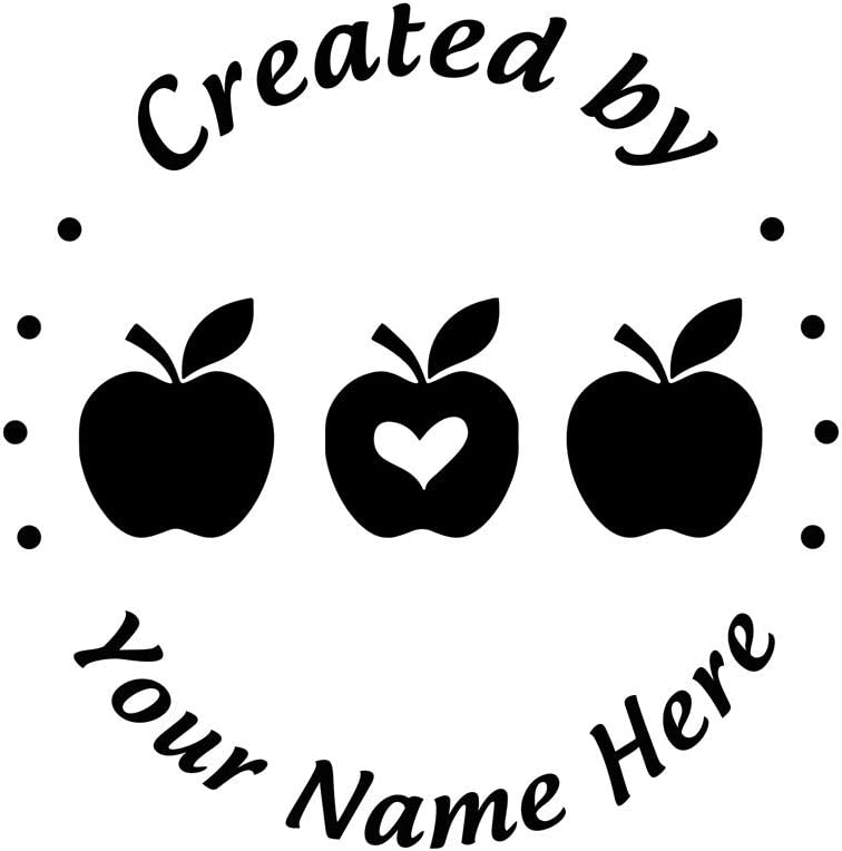 Created by Stamp Personalised Self Inking Christmas Gift Custom Three Apples and Heart Shape Leaf Pattern Lable Round Diameter 1.65inch/42mm Seal 1pc