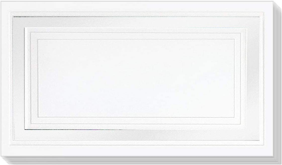 Laser and Inkjet Compatible PaperDirect White 38lb Cover Stock Folded Place Cards with Black Foil Border 2 x 3 1//2 Micro-Perforated 100//Pack