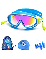 Swim Goggles Kids Set for Boys Girls (3-14),[Wide View Clear Vision Lenses],Swimming Goggles Leak proof Anti Fog UV Protection Soft Silicone Frame Adjustable Strap with earplugs