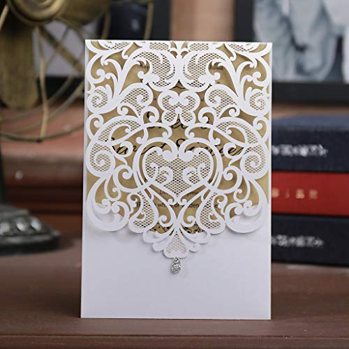 White Laser Cut Wedding Invitations Kits 50 Packs FOMTOR Laser Cut Wedding Invitations with Blank Printable Cards and Envelopes for Wedding,Birthday Parties,Baby -