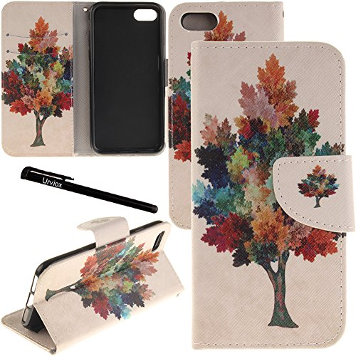 iPhone 7 Plus / 8 Plus Case, Urvoix Card Holder Stand Leather Wallet Case - Colorful Maple Tree Flip Cover for 5.5 iPhone 7 Plus / 8 Plus (NOT for iPhone7)