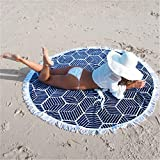 New Seaside Resort Fringed Beach Blanket Round Shaped Yoga Mat