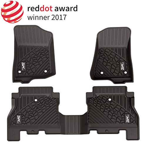 3W Floor Mats for Jeep Wrangler JL 2018 2019 - Full Set All Weather Floor Liners with Non-Toxic TPE 1st & 2nd Row Unlimited 4-Door (Not for JK),