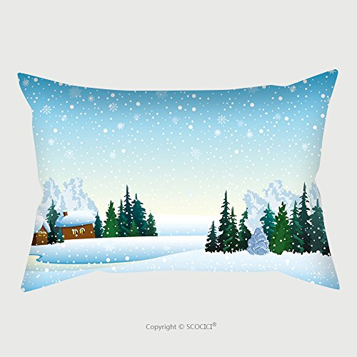 Custom Microfiber Pillowcase Protector Winter Landscape With Houses Forest And Frozen Lake 106112357 Pillow Case Covers Decorative