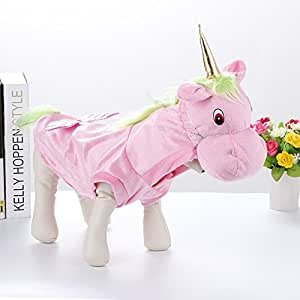 Cheerhunting Fancy Style Pet Costume Pink Unicorn Cosplay Party Dress Clothing for Dogs Cats Small
