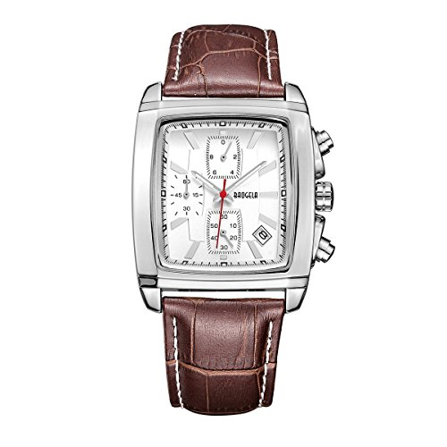 Watches Men Classic Brown Leather Watches White Dial Analog Quartz Chronograph Waterproof Wrist Watch
