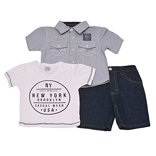 Quad Since 1976 Seven Little Boys White NY Tee Short Sleeved Button Shirt 2 Pc Short Outfit 2-4T