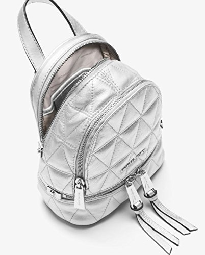 b64cbcabec7d MICHAEL Michael Kors Rhea Mini Metallic Quilted Leather Backpack in Silver