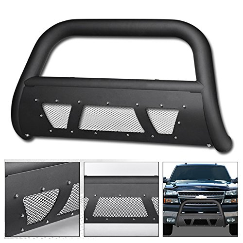 VXMOTOR 1999-2007 Chevy Silverado ; 2000-2006 Suburban / Avalanche ; 1999-2007 GMC Sierra / 2000-2006 Yukon 2500 Matte Black Heavyduty Studded Mesh Bull Bar Brush Push Bumper Guard With Skid Plate (Used Brush Guard)