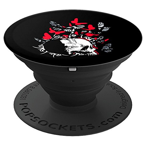 Skull Side Face With Butterflies Psychedelic Grip - PopSockets Grip and Stand for Phones and Tablets ()