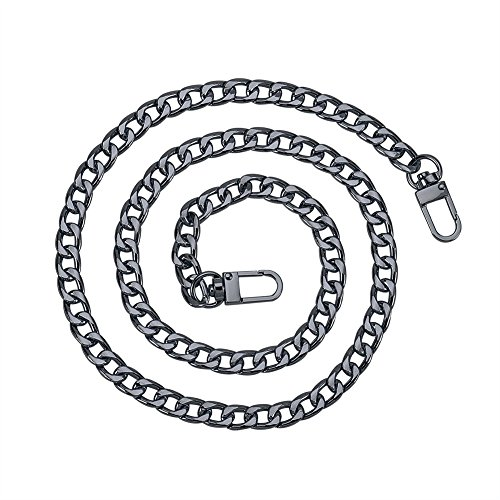 PandaHall Elite 1 Pack 47.2 Inches Iron Flat Chain Strap Handbag Chains Accessories Purse Straps Shoulder Cross Body Replacement Straps with 2 Pieces Swivel Buckles Gunmetal ()