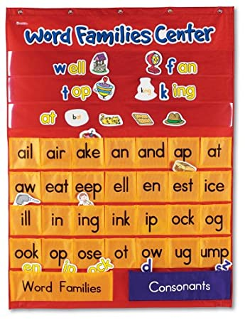 Amazon.com : Word Families Center Pocket Chart : Classroom Pocket ...