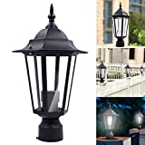 Coohole 13.47.5' Black Patio Driveway Yard Lantern Lamp Fixture Post Pole Light Outdoor Garden (A)