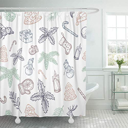 Emvency Shower Curtain Set Waterproof Adjustable Polyester Fabric Christmas Pattern Snowman Sock Holly Fir Needle and Candle Sketches Pastel 72 x 78 Inches Set with Hooks for Bathroom ()
