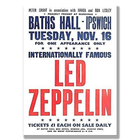boxprints Vintage retro Led Zeppelin gig cartel lona arte ...