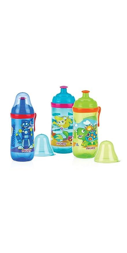 Nuby Pop-Up Sipper - Taza con boquilla de silicona y tapa protectora higiénica,