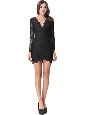 cb4d96d070c8 Aphratti Women's Long Sleeve Floral Lace V Neck Bodycon Party Dress Black  Small
