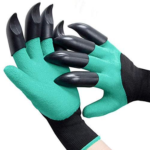 Garden Gloves with Claws Includes 8 ABS Plastic Fingertips Claws for Left and Right Hands – Quick and Easy Digging…