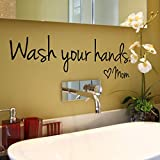 Sunshinehomely Wall Stickers, Wash Your Hands Mom Waterproof DIY Background Wall Home Mural Decoration Wall Stickers for Home Decor Bathroom Wall Decor