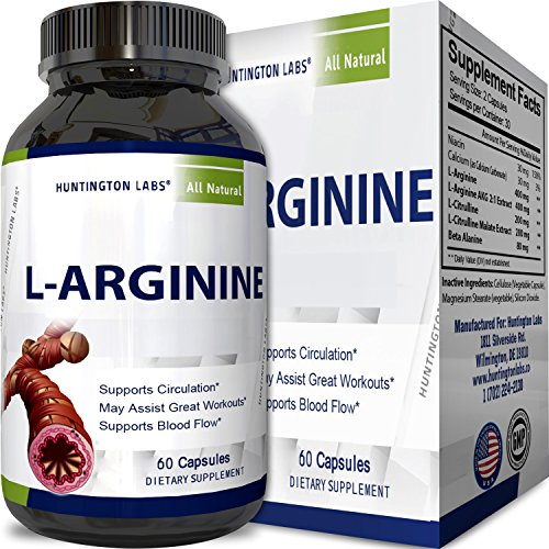 Purest L Arginine Supplement on the Market 60 Capsules – Boost Nitric Oxide Levels, Endurance & Full Time Energy Enhancement – Potent and Effective for Men, Women and Teens – Best L-Arginine by Huntington Labs