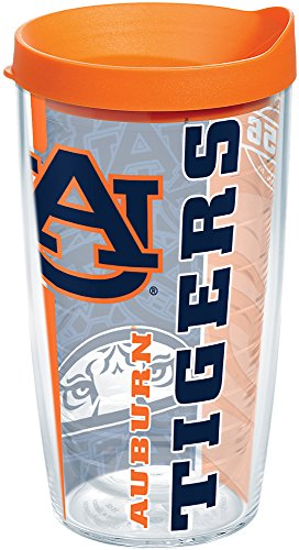 Tervis 1215245 Auburn Tigers College Pride Tumbler with Wrap and Orange Lid 16oz, Clear by Tervis