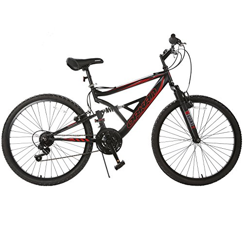 Murtisol Mountain Bike 26'' Men's and Women's Bike Fast Speed Hybrid Bike 18 Speed Commuter Bike Front/Full Suspension Shimano Derailleur Bicycle,Black Red